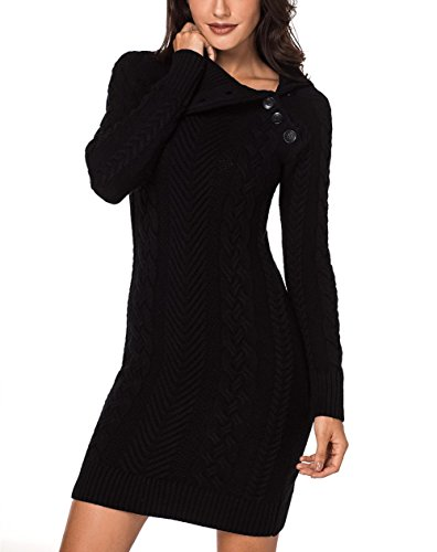 Delicate cable knit pattern accent Asymmetric shaw collar with buttons Body-hugging fit better for keeping warm Wardrobe staples for women in chilly days Different colors and sizes are supplied