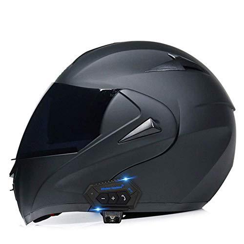 FFYN Erwachsenen-Flip-Up-Motorrad-Bluetooth-Helm, modularer Herren-Integralhelm für Herren, mit Doppelvisier-DOT-Zulassung für Motorrad-Offroad-Downhill-Quad-Bike-Rennen Dirt Bike Crash