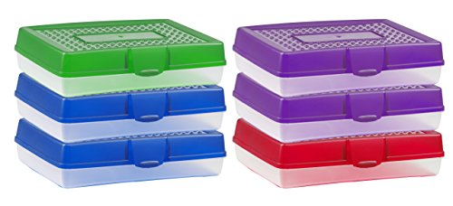 Storex Large Pencil Box Case, Plastic School Supply Storage Organizer, Assorted Colors, 7.75 x 2.9 x 11.25 Inches, 6-Pack (61645U06C)