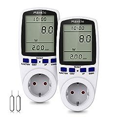 Compteur d'énergie de mesure des coûts d'électricité, compteur d'électricité Maxcio, analyseur de puissance électrique avec écran LCD, Max 3680W/16A-2 Packs