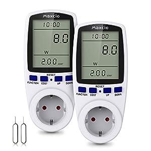 Maxcio Medidor de Consumo de Energía, Monitor de electricidad con Pantalla LCD Grande, 7 Modos Medidor de Consumo Elctrico con Protección contar Sobracarga 3680W (2 Pack)