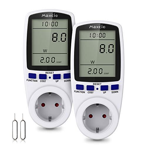 Strommessgerät Steckdose, Maxcio Energiekostenmessgerät Stromverbrauchszähler, Leistungsmessgerät Stromzähler Elektrizitäts-Analysator mit LCD-Bildschirm, Max 3680W/16A-2 Packs