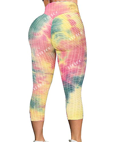 FITTOO Women's High Waist Yoga Pants Tummy Control Scrunched Booty Capri Leggings Workout Running Butt Lift Textured Tights Dyed Yellow Green Medium