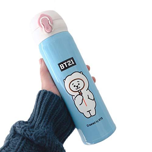 17 oz / 500 ml KPOP BT21 Botella de agua de acero inoxidable BTS Vacío de bebida para beber, Miembro Miembro de moda para A.R.M.Y,G