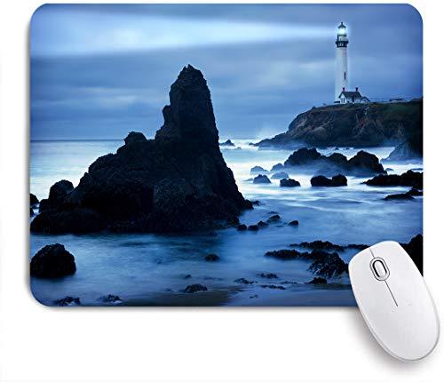 SUHOM Gaming Mouse Pad Rutschfeste Gummibasis,Leuchtturm an der kalifornischen Küste mit Lichtstrahl friedliche neblige Oberfläche Dämmerung,für Computer Laptop Office Desk,240 x 200mm