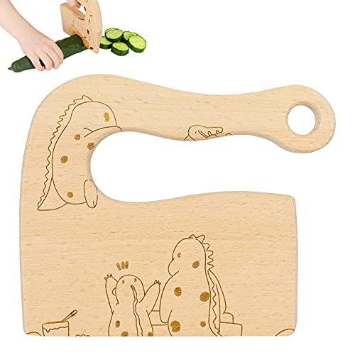 Cuchillo de cocina de madera para niños, cuchillo de seguridad para niños de 2 a 10 años para cortar pasteles de frutas y verduras, los accesorios de cocina pueden proteger los dedos