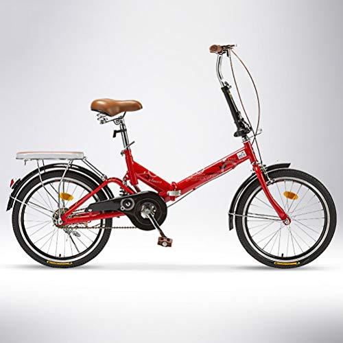 ZEIYUQI Bicicleta portátil para Adultos Plegable 20 Pulgada Bicicleta de Velocidad Variable Unisexo,Rojo,Variable Speed B