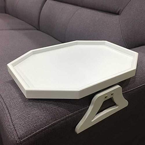 Armlehne aus Holz, zum Anklipsen, für Sofa, Couch, Couch, Armlehne, Organizer für Kaffee/Snacks/Elektronik (weiß)