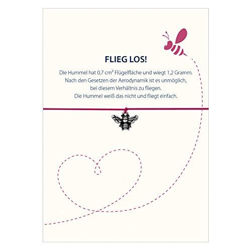 Glücksschmiedin Spruch - Armband FLIEG LOS mit Hummel Anhänger versilbert, elastischem Textilband in pink und liebevoller Karte: … Die Hummel weiß das Nicht und fliegt einfach