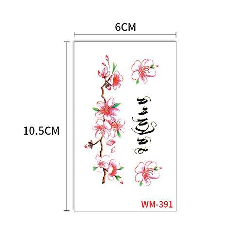 Handaxian 10pcs-Body Peint des Autocollants de Tatouage de Simulation de Fleurs et de Plantes imperméables Autocollants de Chiot Mignon 10pcs-12