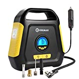 CREMAX Tire Inflator, Car Air Compressor Pump, 12V DC Portable Automotive Air Pump up to 120 PSI, Digital LCD Display and Emergency Led Lighting