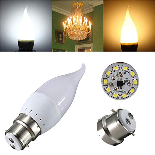 NHDY B22 3W Blanc Blanc Fort LED Bougie Flamme Lustre Ampoule Effacer AC 220V 0914 (Color : Pure White)