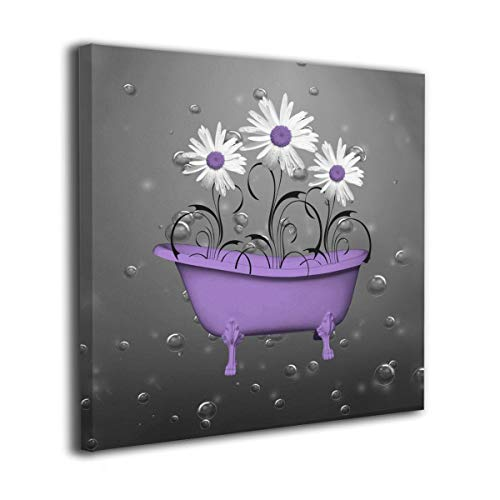 Ale-art Purple Gray Daisy Flowers Bubbles Modern Oil Painting for Wall Decor Gallery Wrapped Giclee Wall Art On Canvas Ready to Hang 20'x20'