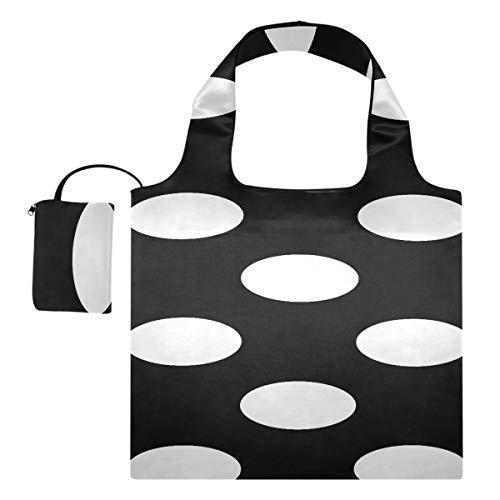 Einkaufstasche Schwarz Weiß Tupfen Einkaufstasche Isolierte Werkzeug-Einkaufstasche Polyester Wiederverwendbare Einkaufstaschen, waschbar, langlebig und leicht