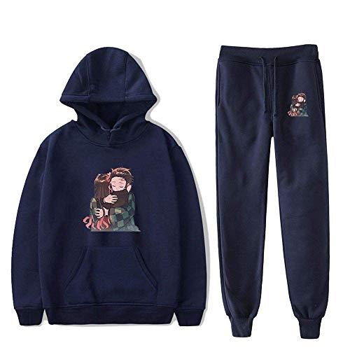 MQJ Demon Slayer - Chándal con capucha para niños y niñas, diseño de camuflaje, 2 piezas, color azul marino, talla 1, XXL