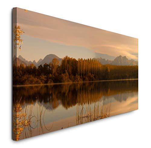 Paul Sinus Art GmbH Bäume reflektieren 120x 50cm Panorama Leinwand Bild XXL Format Wandbilder Wohnzimmer Wohnung Deko Kunstdrucke
