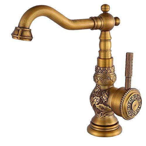 Tradicional luxuriöse lavabo grifo latón envejecido cepillado grifo estilo rústico monomando grifo baño mezclador grifo längerer caño alto rango de giro 360°