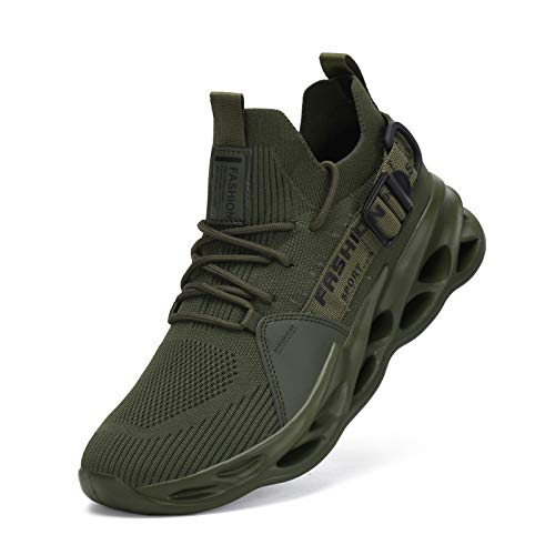 Nihaoya Walking Shoes for Men Jogging,Summer Mens Sneakers Breathable Army Green 10