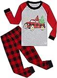Boys Pajamas Long Sleeve Tree Christmas Toddler Red Plaid Pant Sets Kids Pjs Sleepwear 5 6 T