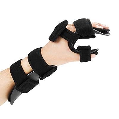 REAQER Stroke Hand Brace Soft Resting Hand Splint Support Finger Wrist Immobilizer for Stroke Hand Pain Tendinitis Sprain Fracture Arthritis Dislocation (L, Left)
