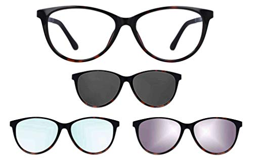 """Ultem Thema 283 Color 007 Tortuga Montura para gafas de vista y sol con 3 Clip-on Original """"99 John St NYC"""" Género mujer"""