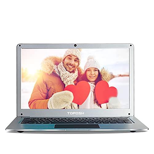 TOPOSH - PC Portatile 12,5 Pollici 4 GB RAM + 64 GB SSD Intel Celeron N3350 Quad-Core Graphic 1,1 GHz, Laptop con Tastiera QWERTY- Argento