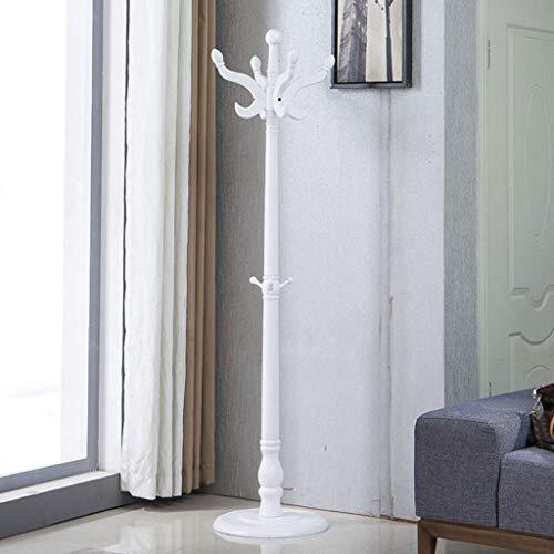 CKH - Perchero de pie de madera maciza, diseño creativo y elegante, adecuado para el hogar o la oficina, vestíbulo, simple ensamblado, color blanco