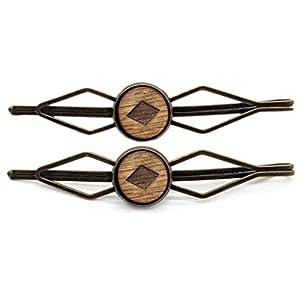 2-er Set Harrclips Haarnadel aus Holz für Mädchen und Frauen Haar Haarschmuck Haarseil klips Nadel Bronze Vintage Damen…
