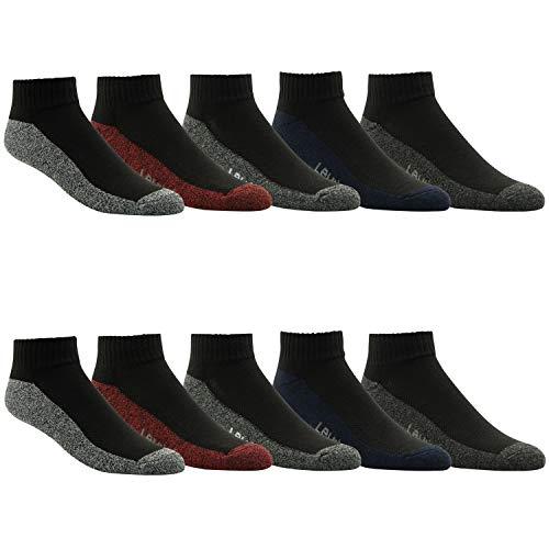 Levi's Athletic Mens Socks - Performance Cushion Athletic Gym Crew Socks 10 PACK Black Mid Cut Socks