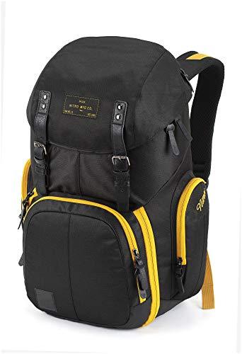 Weekender Alltagsrucksack mit gepolstertem Laptopfach, Schulrucksack, Wanderrucksack inkl. Nassfach, 42 L, Golden Black