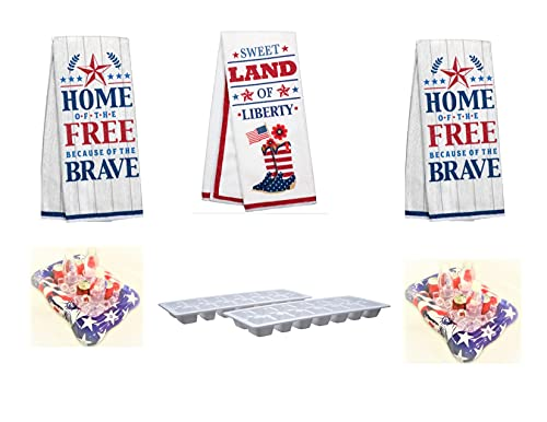 EBK Independence Day Memorial Day July 4th Patriotic Holiday Independence Day Rustic Inspired Kitchen Towels Ice Tray Inflatable Coolers