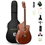 Vangoa 12 String Guitar, Acoustic-electric Dreadnought Cutaway Guitar Bundle, Sapele Body, Natural, Gloss(VA21CE NT12)