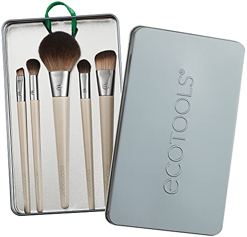 EcoTools Makeup Brush Set for Eyeshadow, Foundation, Blush, and Concealer, Start the Day Beautifully, Pack of 5
