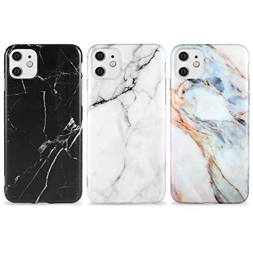 AROYI 3 x Funda para iPhone 11 Mármol Silicone Suave Carcasa, Slim Soft Gel TPU Case Protección Antigolpes Cover para iPhone 11 (Blanco y Negro)