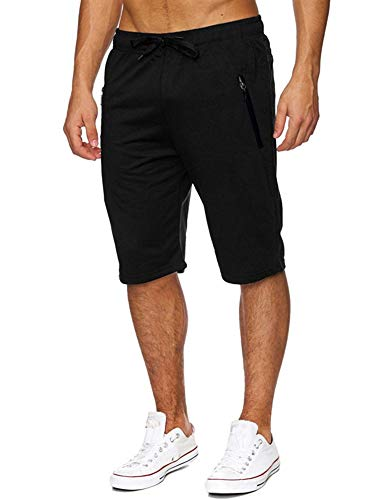 Pneacimi Men Drawstring Elastic Waist Lounge Workout Short Pants Sweat Joggers Shorts with Zipper Pockets (M, Black Men Shorts)