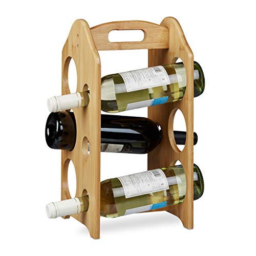 Relaxdays Botellero de Diseño para 6 Botellas con Asa, Madera Natural, 40 x 20 x 20 cm