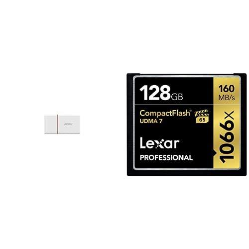 Lexar Lector de Tarjeta nCARD NM Nano Memoria 2 en 1 USB 3.1 + Tarjeta de Memoria Professional CompactFlash 1066x de 128 GB