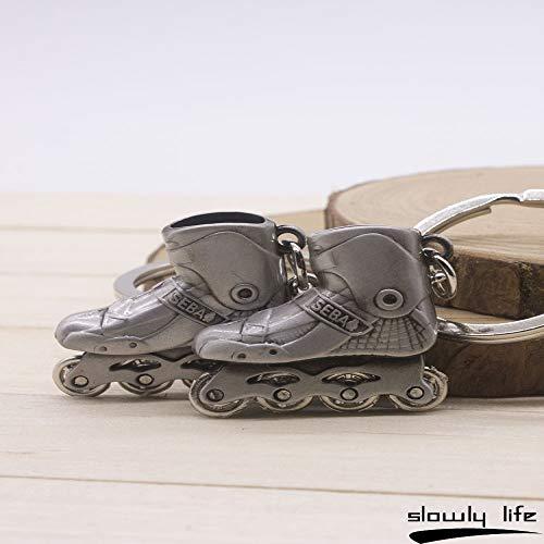 Dfhdfsg kleine Schlittschuhe schlüsselmodell Mini Rollschuhe riemenscheibe Schuhe schlüsselanhänger schlüsselanhänger anhänger grau Paar (Zwei)