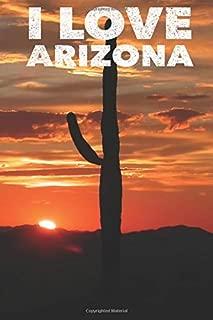I love Arizona: Journal Notebook Desert Skyline US Travel Gift for Men and Women Cactus Desert Photo Wide Ruled 6x9 Writing Note Book Daily Traveler Diary Christmas Birthday 100 Page