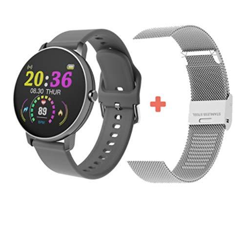 YNLRY Smartwatch Full Touch - Reloj inteligente para mujer, frecuencia cardíaca, monitor de presión arterial, resistente al agua, deportivo, para Android IOS (color: marrón)