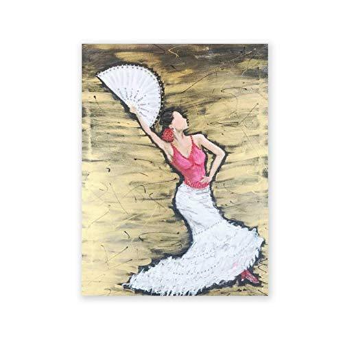 Bailarina de flamenco española Pintura de arte pintada a mano Cartel de lienzo Resumen Mujer Baile Impresiones Decoración de imagen de pared Regalo de baile -50x70cm Sin marco