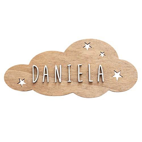 VINTIUN Nombre para Puerta Habitación Infantil. Placa Decorativa Personalizada para Bebé, Niño o Niña. Regalo Original para niños o Bebes. (Madera, Adhesivo Nube)