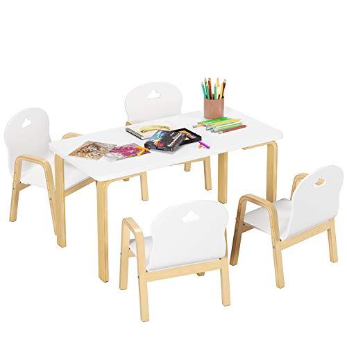 Kindersitzgruppe Kindertisch mit 4 Stühlen Kindermöbel Set Sitzgruppe Kinderstuhl Kindertisch Schreibtisch Esstisch Lerntisch für Jungen und Mädchen Holz