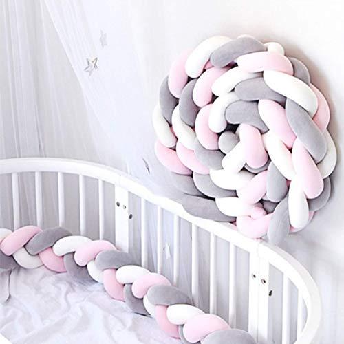Digead Bettumrandung, Babybett Weben Kissen, Kinderbett Bettschlange, Verknotetes Babykissen, Stützkissen Babybettausstattung - (Pink/Weiß/Grau)- 2 m