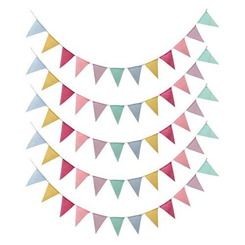 ZXK CO Wimpelkette Outdoor, 5 Stück Wimpel Banner Draußen Pastell Dekoration Wimpel Girlande Kinderzimmer für Party, Geburtstag, Hochzeit, Weihnachten (60 Dreieck Flaggen)