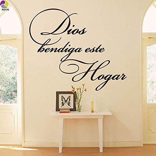 Gott Segne Dieses Haus Spanien Zitiert Wandaufkleber Wohnzimmer Schlafzimmer Spanien Christian Religiöse Abziehbilder-84X70Cm