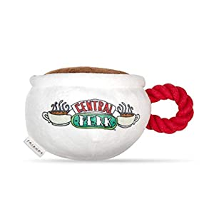 Friends TV Show Central Perk Coffee Mug Plush Dog Toy with Rope Handle| Soft Cute Squeaky Toy for All Dogs | Stuffed Dog Toys with Squeaker Noise for Added Fun, Friends Memorabilia