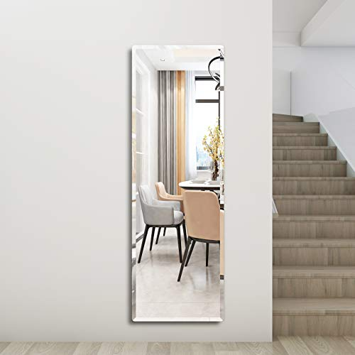 """Honyee Wall Mirror, Simple and Classic Full Length Mirror, Beveled Frameless Mirror for Cloakroom/Bedroom/Living Room and More(20"""" x 60"""" Rectangular)"""