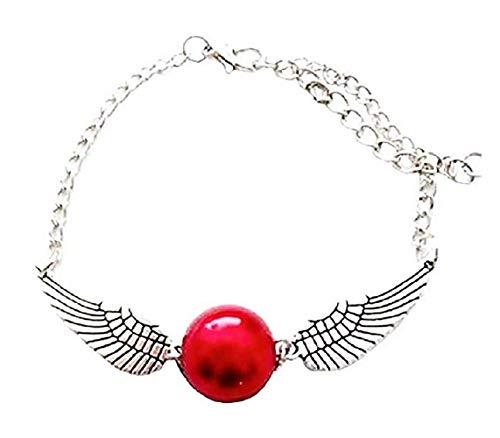 Legisdream Pulsera snito rojo con alas de ángel, color plateado, ideal como regalo para fiestas, cumpleaños, santo dorado