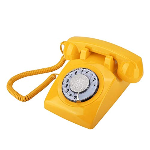 ASHATA Teléfono Vintage, Teléfono con Diseño Retro Antiguo, Teléfono con Cable, Teléfono Fijo de la Moda, Teléfono Fijo, Teléfono de Escritorio Retro Rotary Dial (Amarillo)